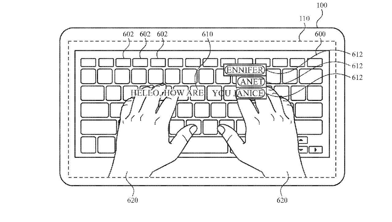 Detail from the patent showing how a user could be shown their typing directly over the keyboard
