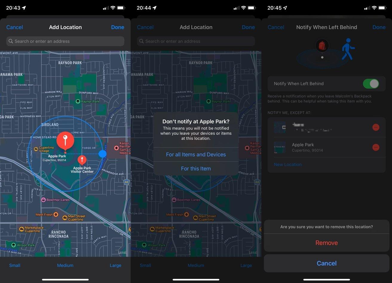 Puede agregar fácilmente una ubicación segura personalizada para deshabilitar las alertas y también eliminarla de la lista.
