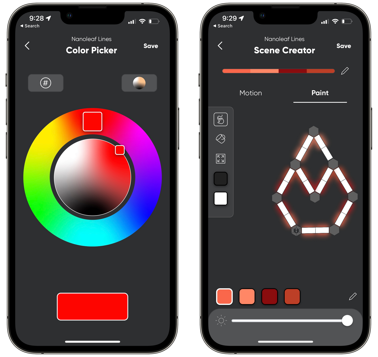Basic color choice or creating dynamic scenes in the Nanoleaf app