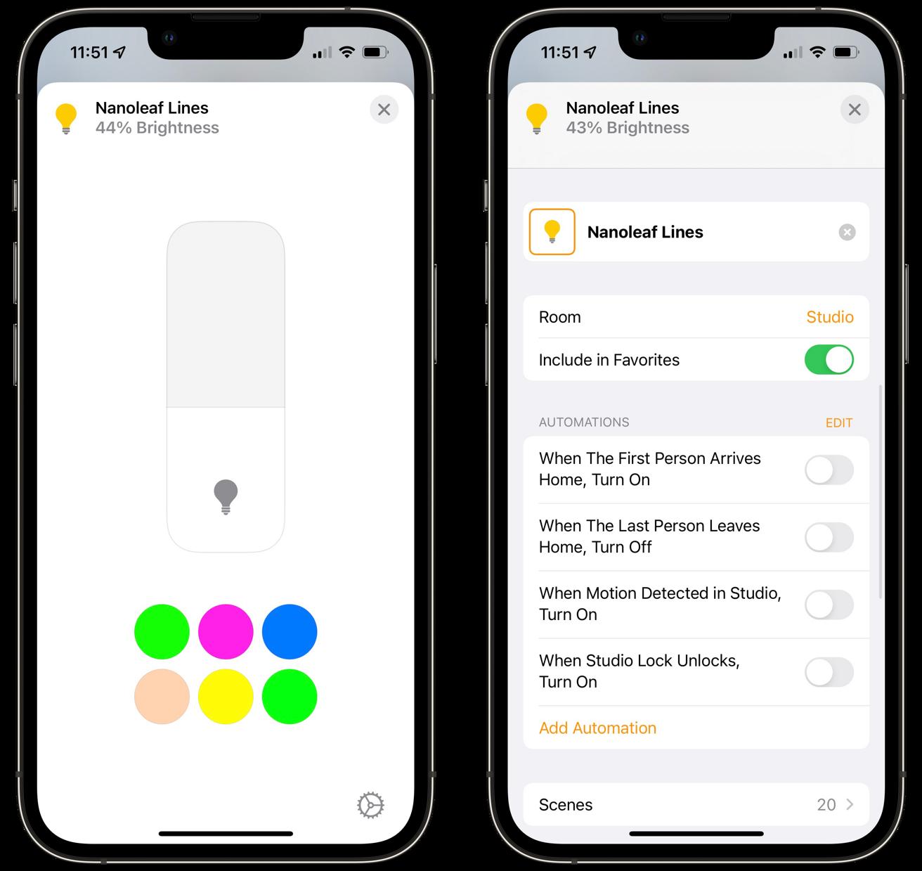 Nanoleaf Lines in the Home app