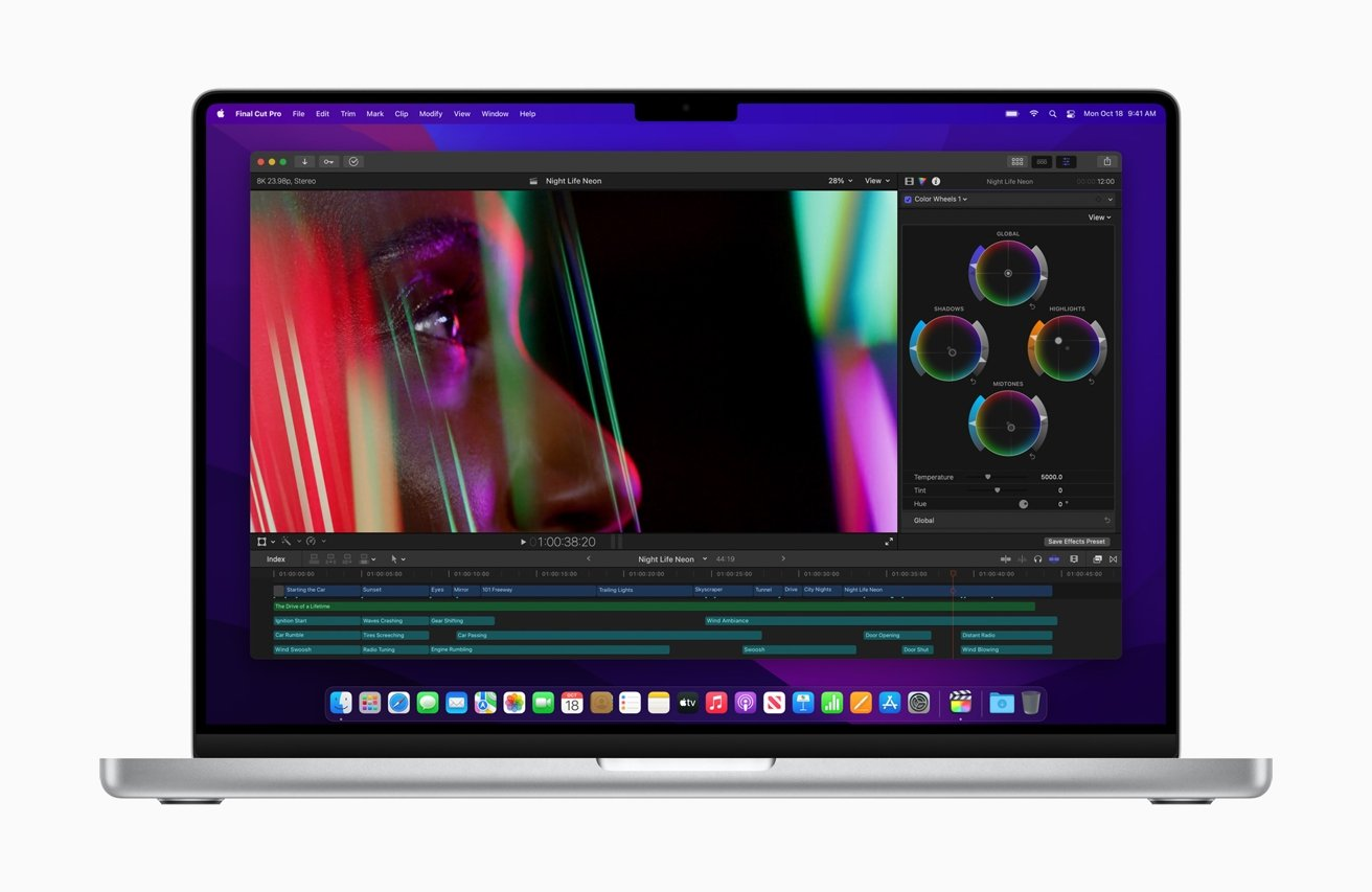 The new MacBook Pro line includes mini LED and a notch at the top of the display.