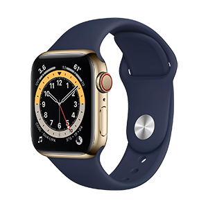 Apple Watch Series 6 with Gold Case, Navy Sport Band