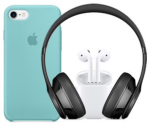 iPhone case, AirPods and Beats over-ear headphones